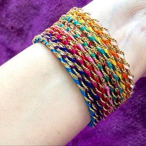 Jewelry - Assorted multicolored metal & silk thread bangles
